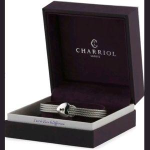 Charriol Cable Wire Padlock Heart icon Bangle Cuff